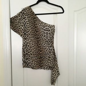 Alice + Olivia Tops - Alice + Olivia One Shouldered Leopard Top