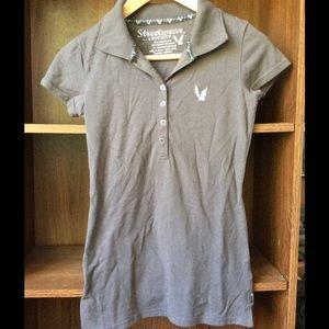 Tops - Gray polo shirt