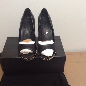 % Authentic Chanel Black Leather Open Toe Wedge