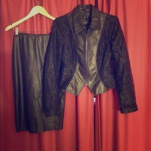 Set of faux leather jacket and lace /skirt s