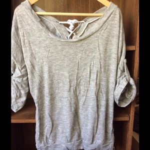Tops - Heather gray loose top w/ crisscross tie at back