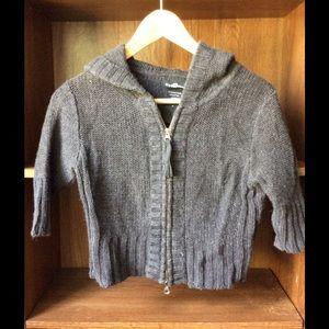 Tops - Gray crop zipper sweater hoodie