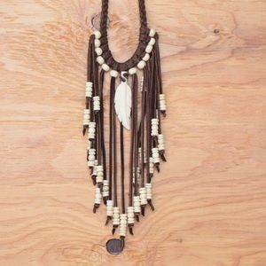 Beautiful Leather Fringe Beaded Boho Bib Necklace