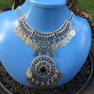 SALENEW Coin Medallion Bib Statement Necklace