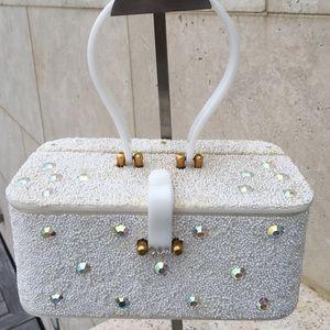Vintage Midas of Miami White Beaded/Lucite Box Bag
