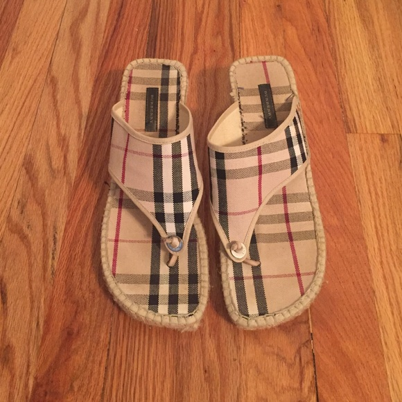 0fe25085d5c2 Burberry Shoes - Burberry Espadrille Wedge Thong Sandals