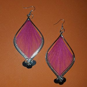 Pink threaded earrings
