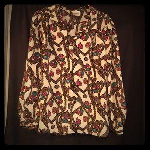 VINTAGE long sleeve mardi gras print shirt