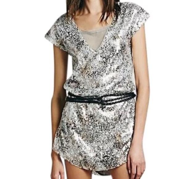 Free People Dresses - free people metallic mini dress shattered glass