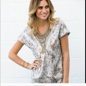 Free People Dresses & Skirts - free people metallic mini dress shattered glass