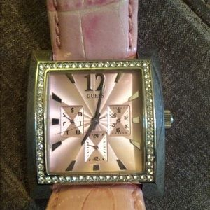 Guess watch pink with crystals