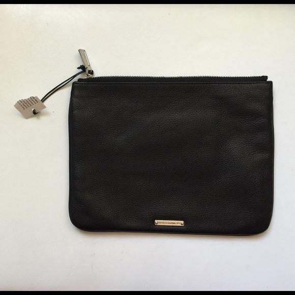 c91b38a1542a Rebecca Minkoff black leather clutch/cosmetic bag. NWT