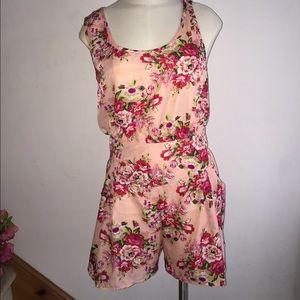 AX Paris Pants - AX Paris pink peach floral romper play suit nwt