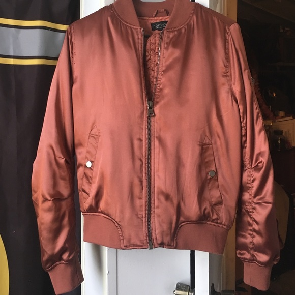 277290300 Topshop Shiny Satin Bomber Jacket