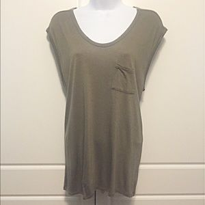 T by Alexander Wang Tops - T Alexander Wang Olive Oversized Muscle Tee