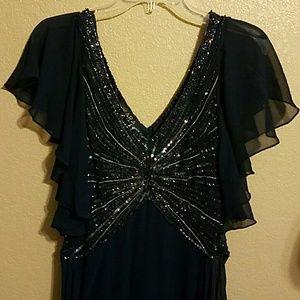 J Kara Dresses & Skirts - Jkara navy dk blue gown beaded size 6 nwt