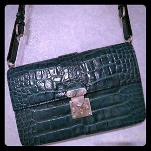 Perlina leather turquoise handbag