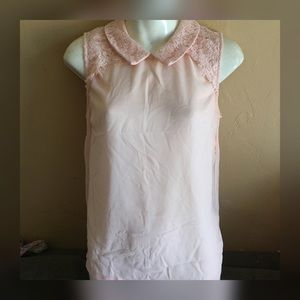 Pink blouse with lace detail