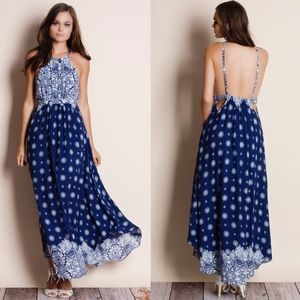 Printed Backless Blue Maxi Dress