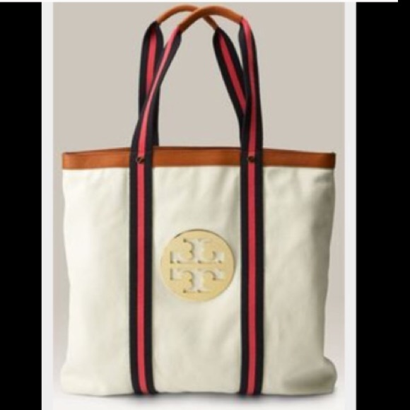 83% off Tory Burch Handbags - Tory Burch canvas and leather beach ...