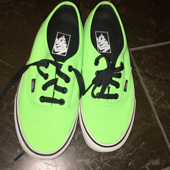6d283a0d65 Neon Green Vans with Black Lace. M 5781a5e25a49d0cc85012a93