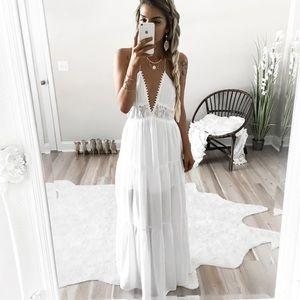 Lace Insert T-Back Maxi Dress