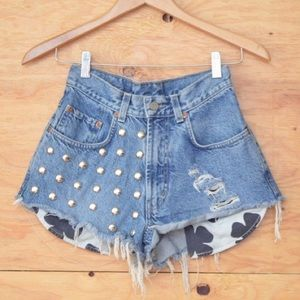 Vintage Lucky Brand Studded Shorts High Rise  SZ S