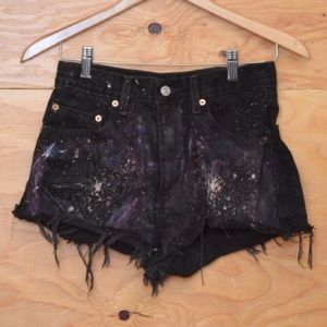 Vintage Levi 80s Black Splatter Paint Denim Shorts