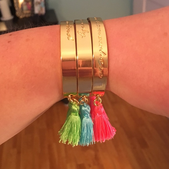 Lilly Pulitzer Jewelry - Lilly Pulitzer Gold Fringe Tassel Bracelets Set