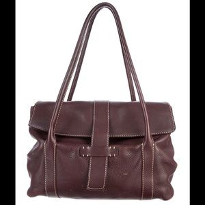 Loro Piana Handbags - LORO PIANA Brown Leather Shoulder Flap Bag