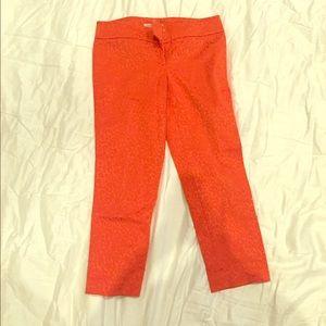 Loft Orange Cheetah Print Ankle Pants