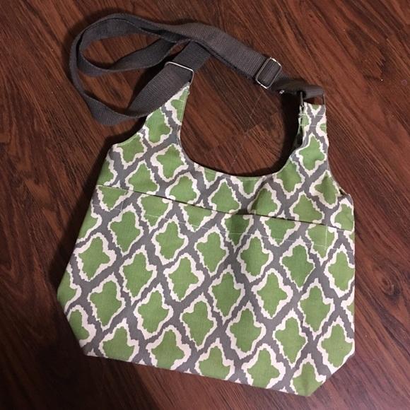 Rock Flower Paper Large Crossbody Bag Gray Green