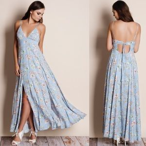 Powder Blue Tie Back Floral Maxi Dress