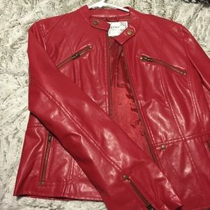 Bright Red Leather Jacket