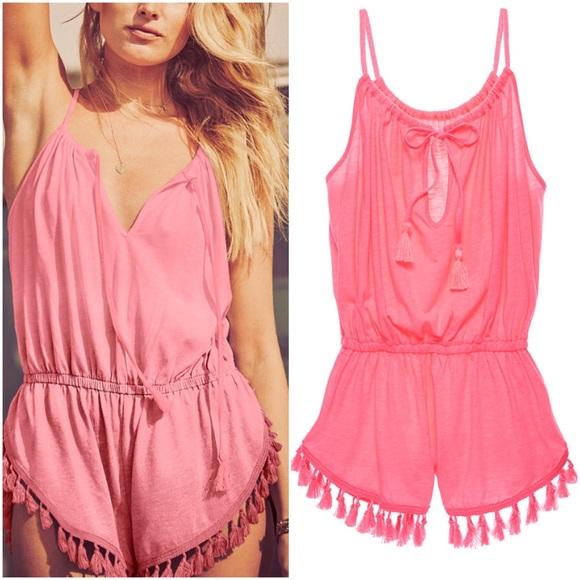 59b5a5fcb0 Victoria's Secret Swim | Neon Pink Tassel Suit Beach Coverup Romper ...