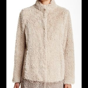 KENNETH COLE IVORY FAUX FUR COAT