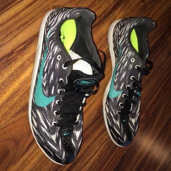 Nike zoom track spikes shoes 9.5 zebra jade