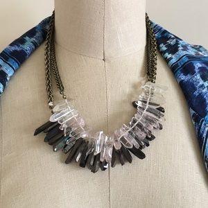 Bauble Bar Jewelry - Raw Rose Quartz and Black Quartz Necklace