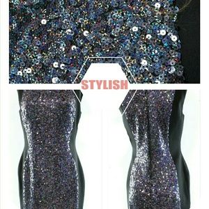 French Connection Lunar Sparkle Sequin Mini Dress