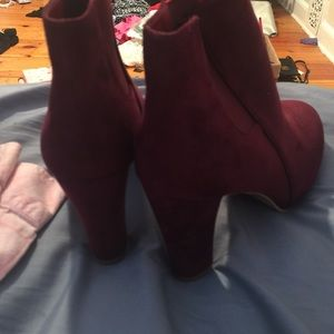 673b089b3f9ab Francesca s Collections Shoes - Wine colored ankle boots!