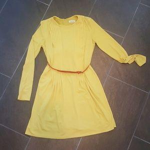 Calvin Klein yellow dress with red belt