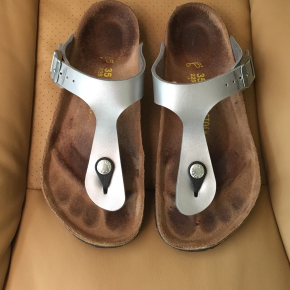 Silver birkenstocks gizeh t strap sandals 35