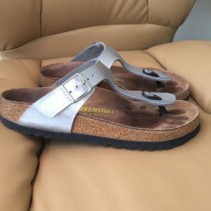 7768c6b23ead Birkenstock Shoes - Birkenstock gizeh Birko-flor sandals silver 35