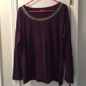 Coldwater Creek Cotton LS Plum Top with Bead Trim