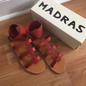 APC Shoes - A.P.C. Madras rouge leather sandals