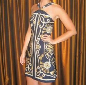 HP 4/15 Cache navy rope print dress