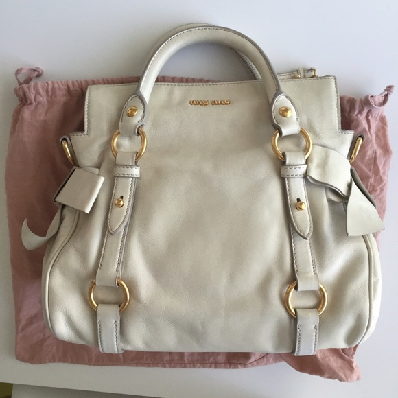 17e385c9b33d Authentic Miu Miu vitello lux mini bow satchel bag.  M 57829589c28456a008008b5a