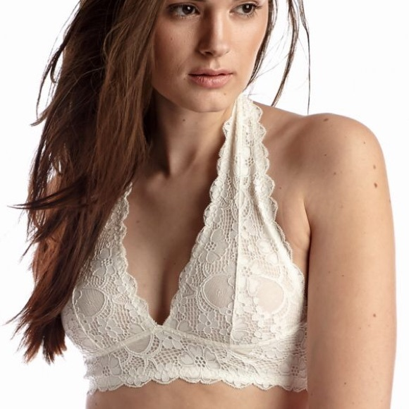 Free People Intimately Gray Galloon Lace Halter Bra Bralette Sz Xs Gray Clothing, Shoes & Accessories Bras & Bra Sets