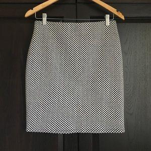 Loft Black White Checkered Skirt