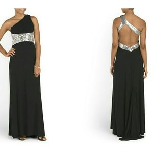 Blondie Nites Dresses & Skirts - Blondie Nites black one shoulder open back gown 1